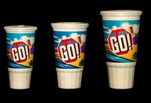 Polypropylene drink cups.