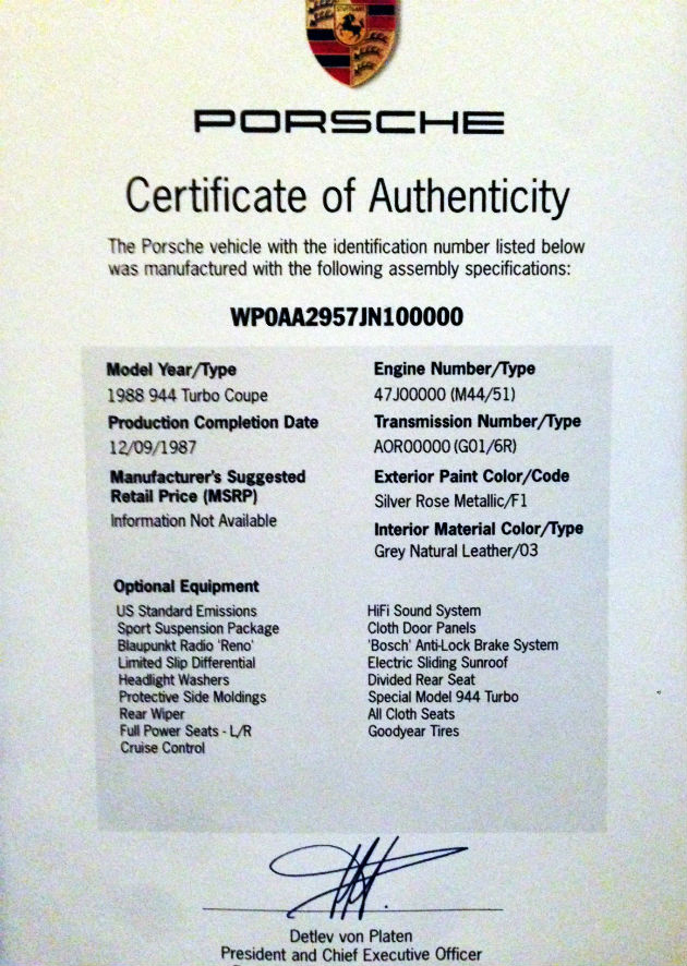 porsche certificate authenticity rose silver misprints mismatches missed connections robert exclusive