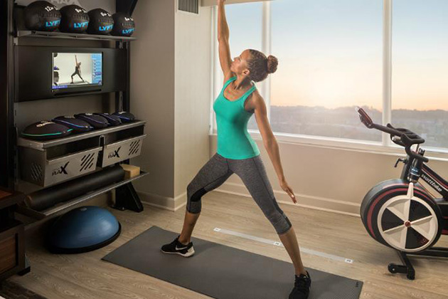 More hotel chains incorporate the in-room fitness concept