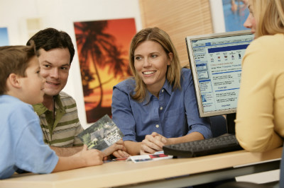 Discussing travel budgets with prospective clients